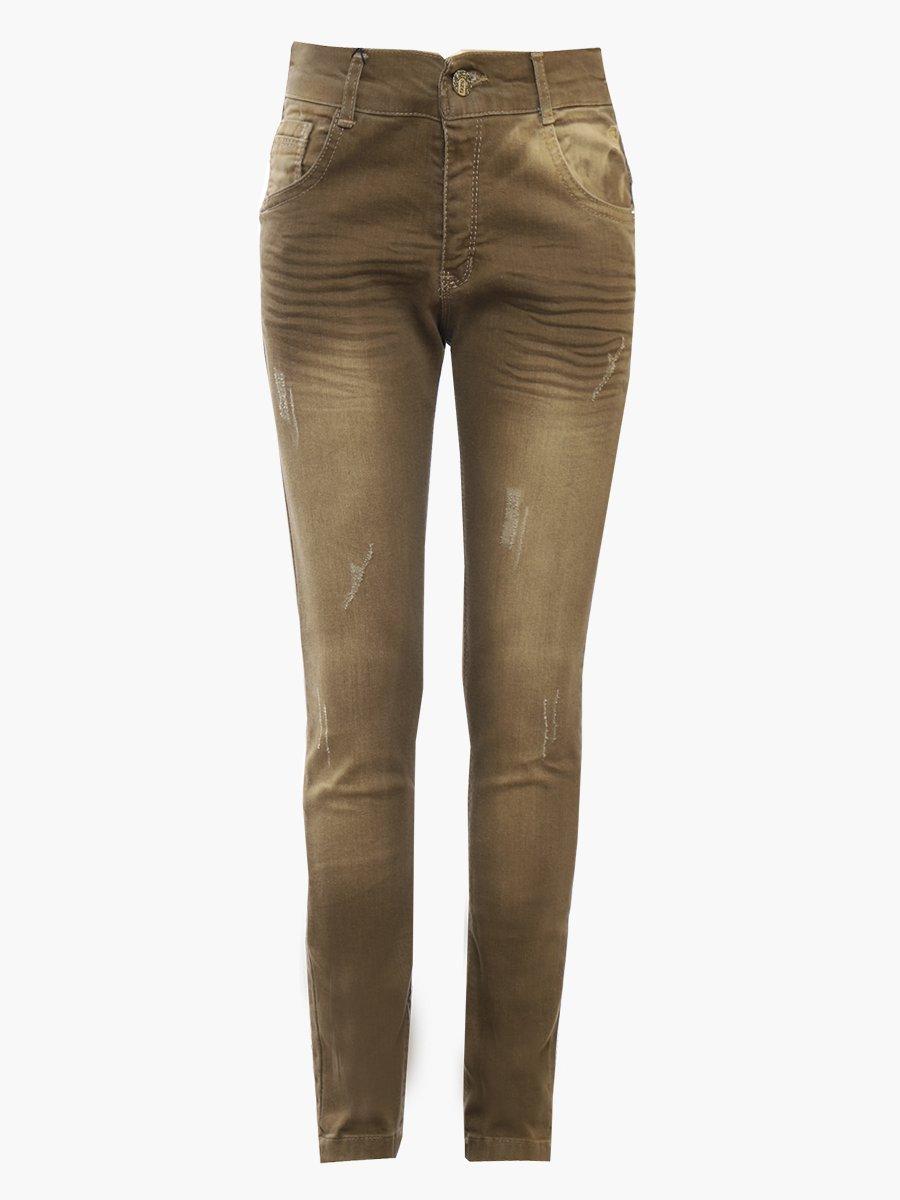 Брюки джинсовые для девочки, цвет: коричневый