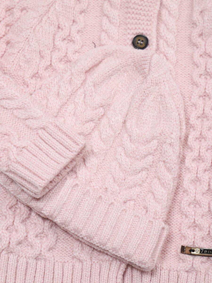 Комплект вязаный для девочки: кофта, рейтузы и шапка