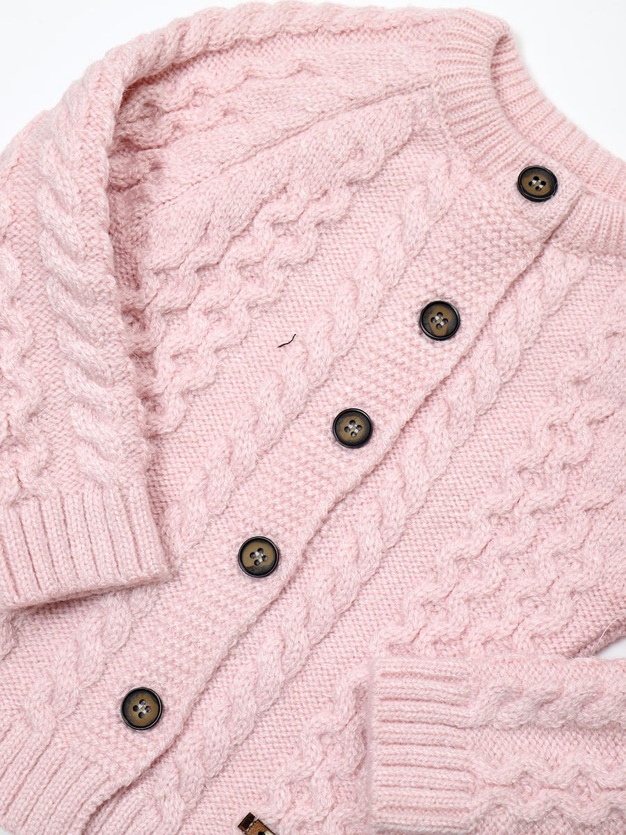 Комплект вязаный для девочки: кофта, рейтузы и шапка, цвет: светло-розовый