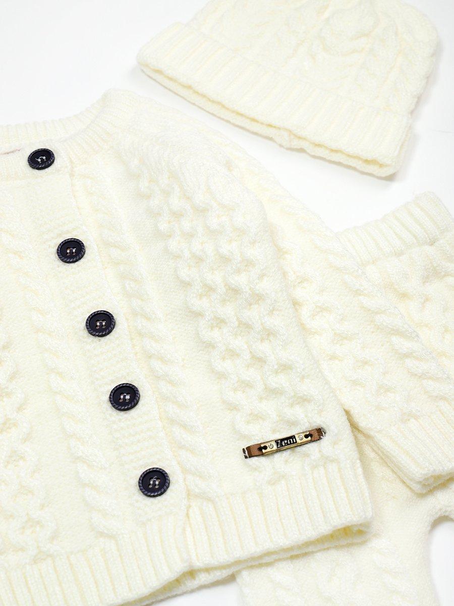 Комплект вязаный для девочки: кофта, рейтузы и шапка, цвет: молочный