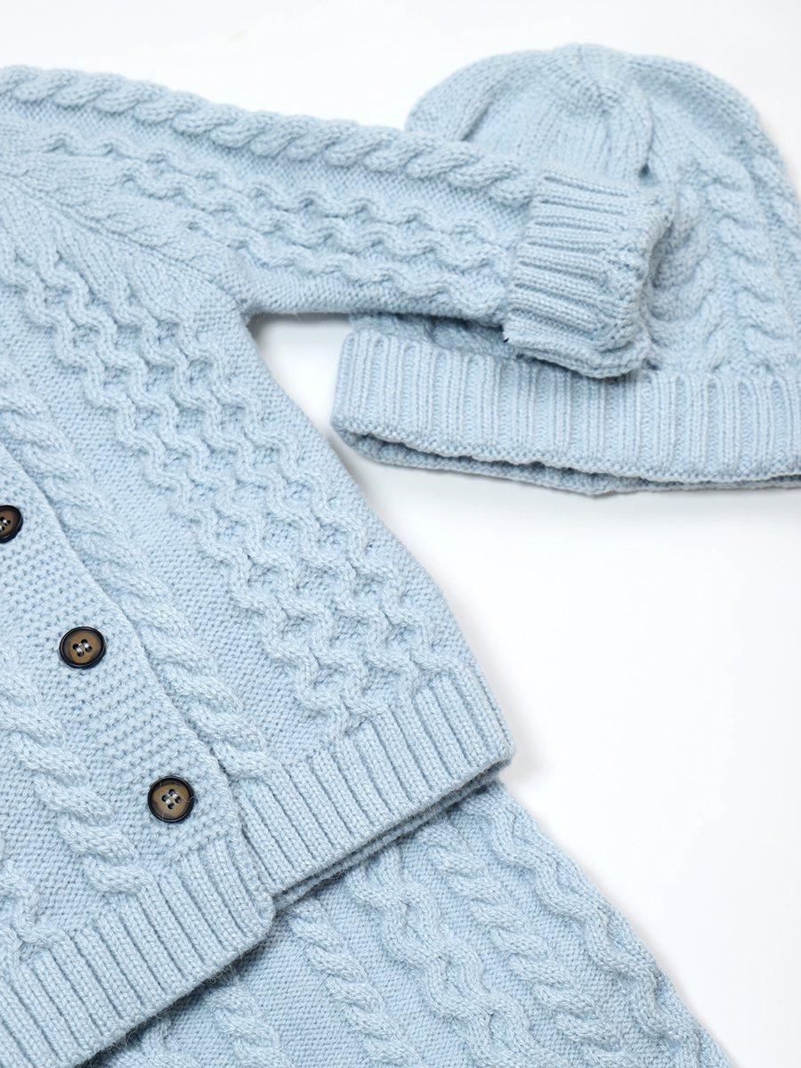 Комплект вязаный для девочки: кофта, рейтузы и шапка, цвет: голубой