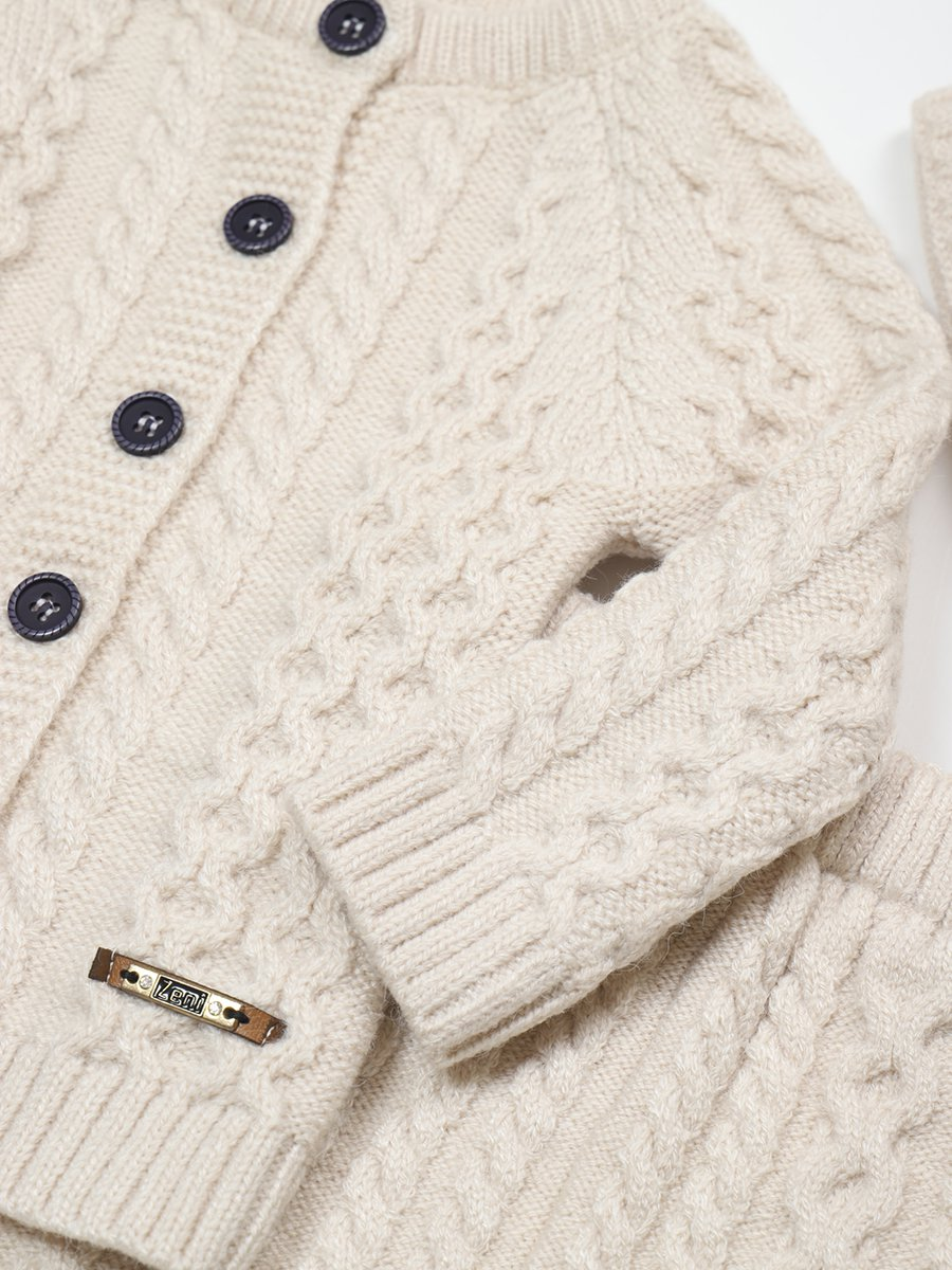 Комплект вязаный для девочки: кофта, рейтузы и шапка, цвет: бежевый