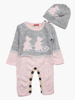 Комбинезон вязаный в комплекте с шапкой детский