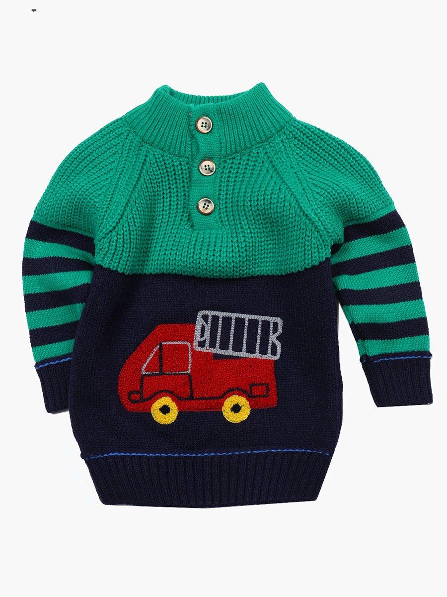 Джемпер вязаный для мальчика, цвет: зеленый