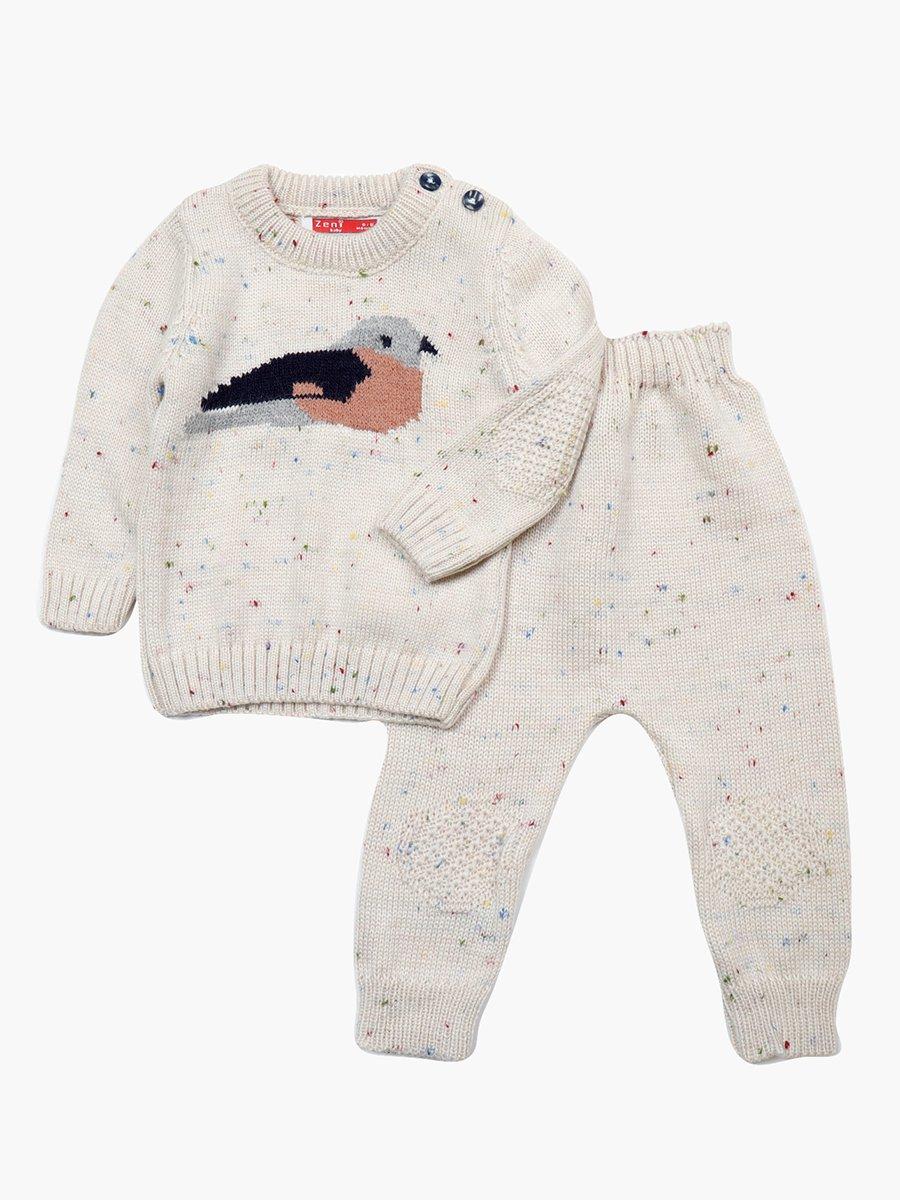 Комплект вязаный для девочки: джемпер и рейтузы, цвет: серый