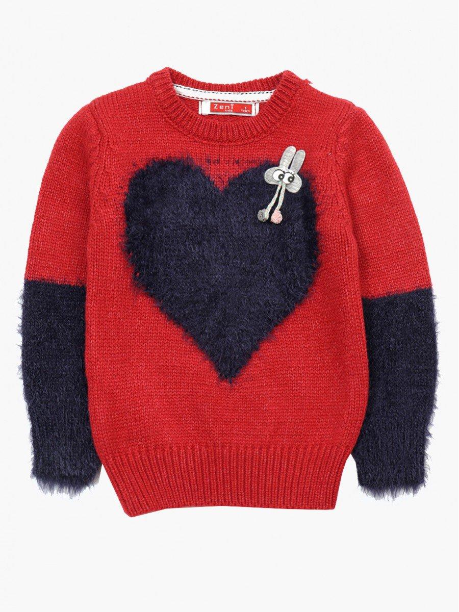Джемпер вязаный для девочки, цвет: красный