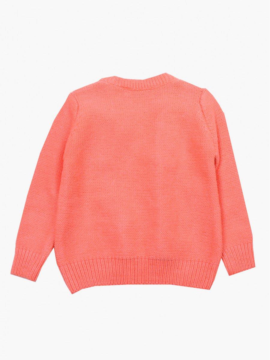 Джемпер вязаный для девочки, цвет: коралловый
