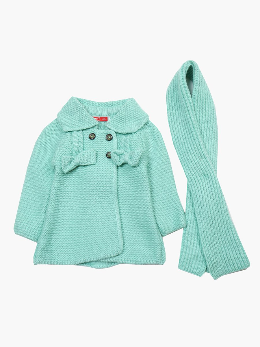 Кардиган вязаный в комплекте с шарфом для девочки, цвет: мятный