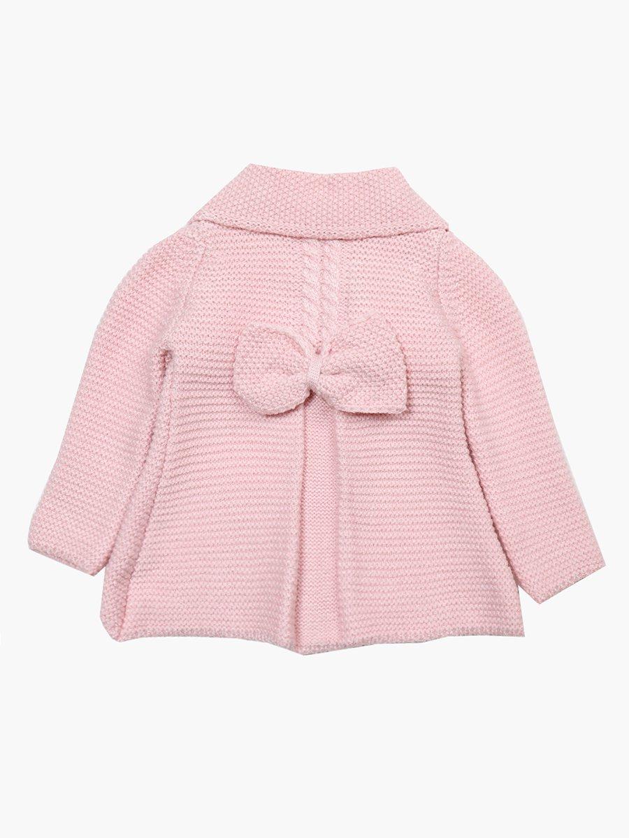 Кардиган вязаный в комплекте с шарфом для девочки, цвет: светло-розовый