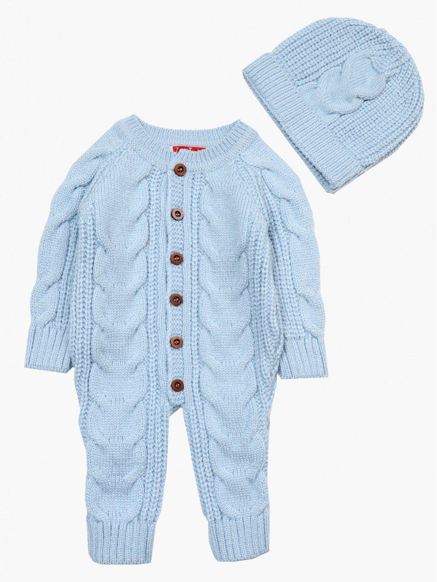 Комбинезон вязаный в комплекте с шапкой детский, цвет: голубой