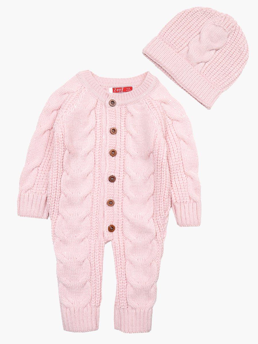 Комбинезон вязаный в комплекте с шапкой детский, цвет: розовый