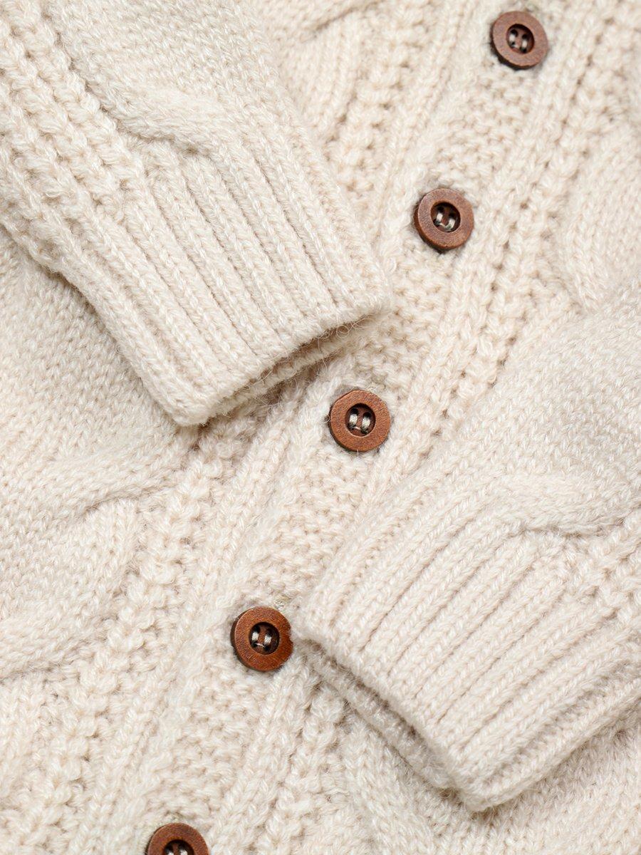 Комбинезон вязаный в комплекте с шапкой детский, цвет: бежевый