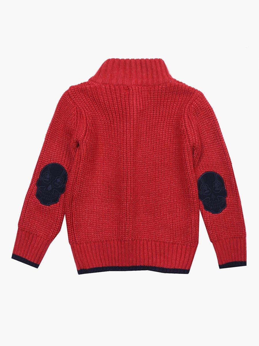 Кардиган вязаный для мальчика, цвет: бордовый