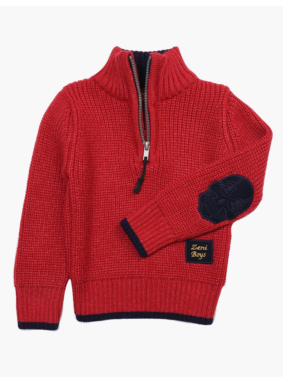Джемпер вязаный для мальчика, цвет: красный