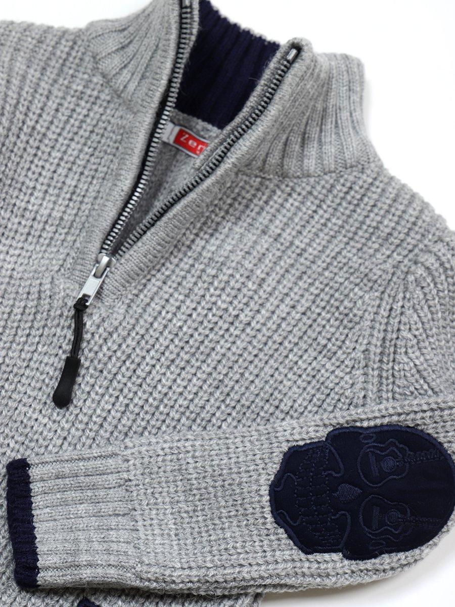 Джемпер вязаный для мальчика, цвет: серый
