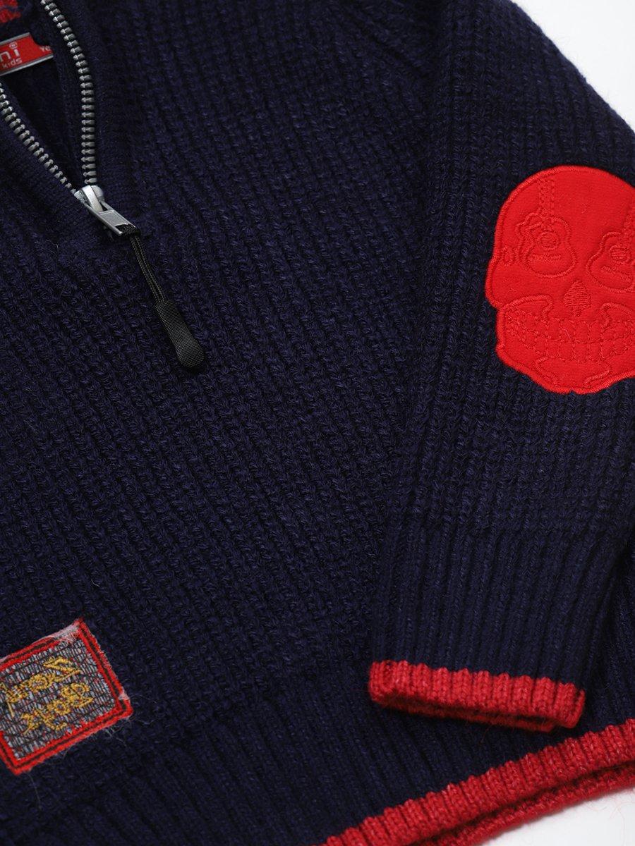 Джемпер вязаный для мальчика, цвет: темно-синий