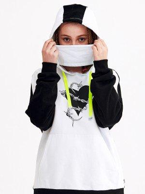 Толстовка оверсайз, капюшон с имитацией маски для девочки