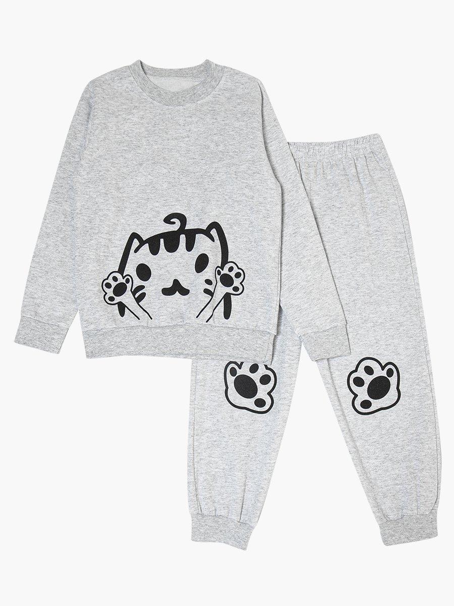 Комплект с начесом детский: свитшот и штанишки, цвет: серый меланж