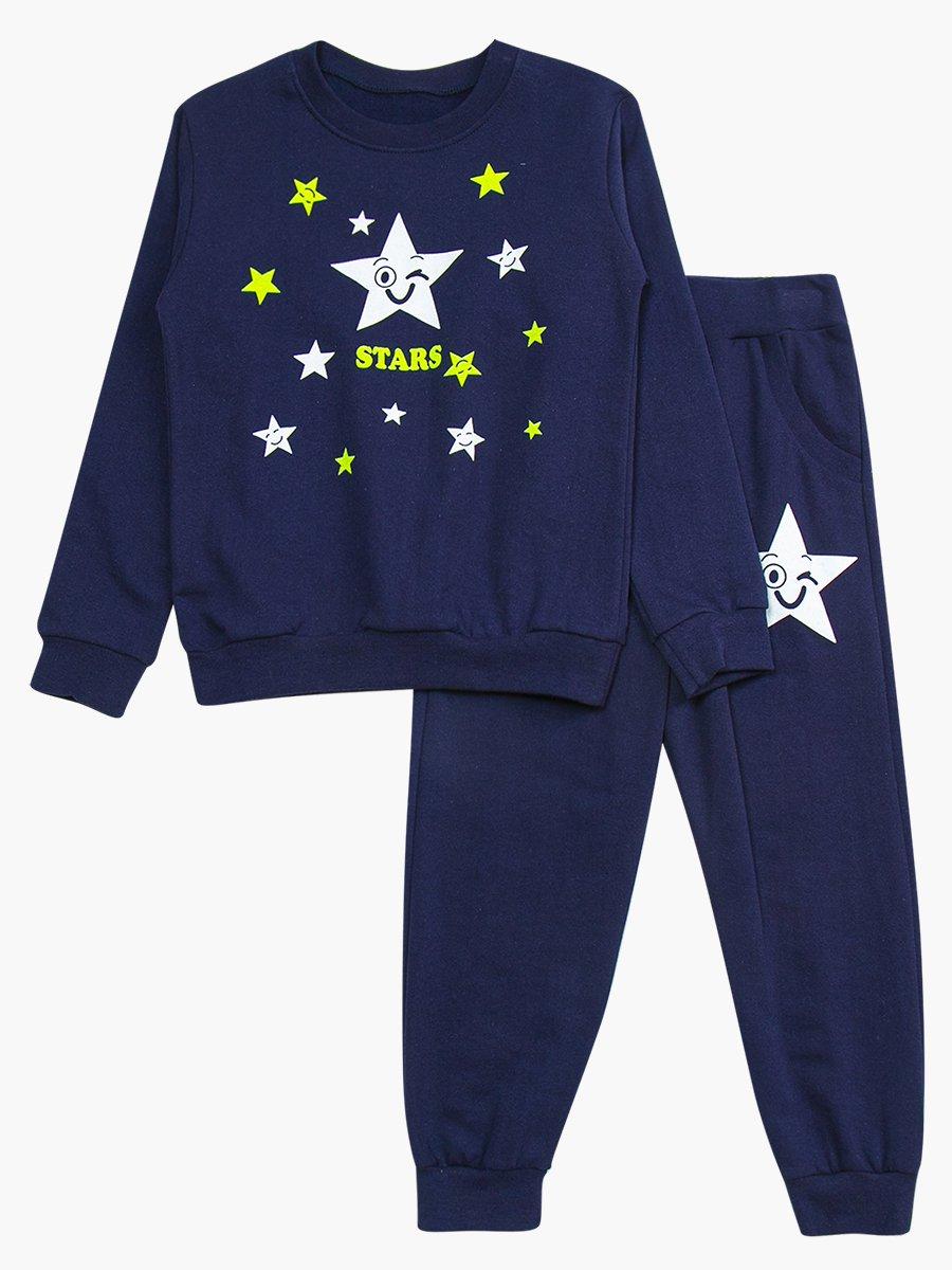 Комплект с начесом детский: свитшот и штанишки, цвет: темно-синий
