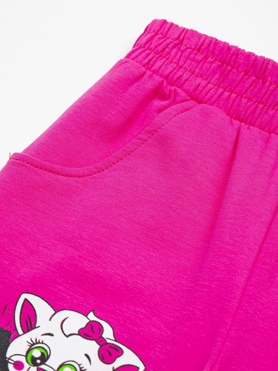 Брюки спортивные с начесом для девочки, цвет: розовый