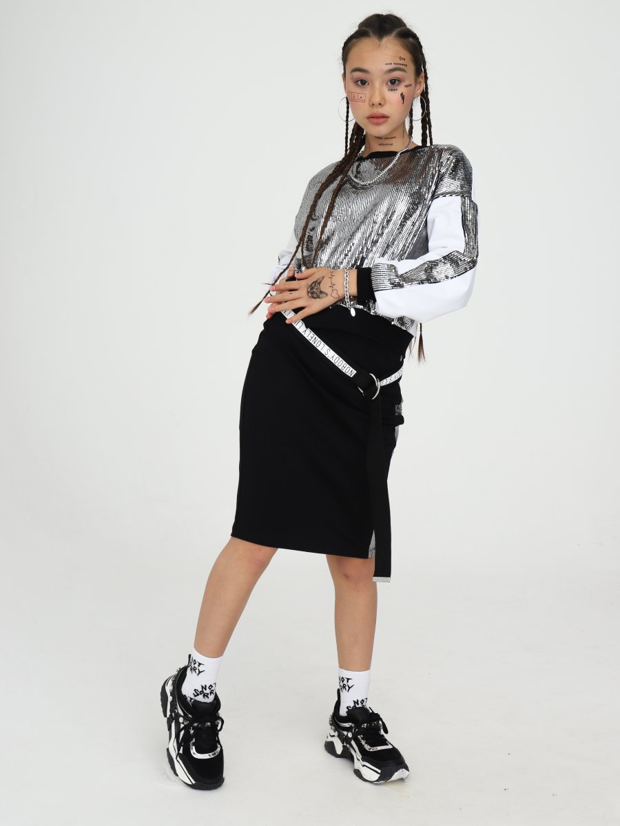 Комплект:свитшот укороченный и юбка прилегающего силуэта, цвет: серебряный