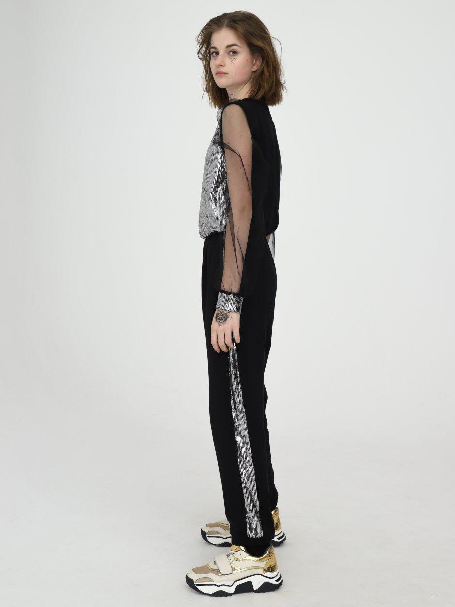 Комбинезон прямого силуэта для девочки, цвет: черный,серебряный