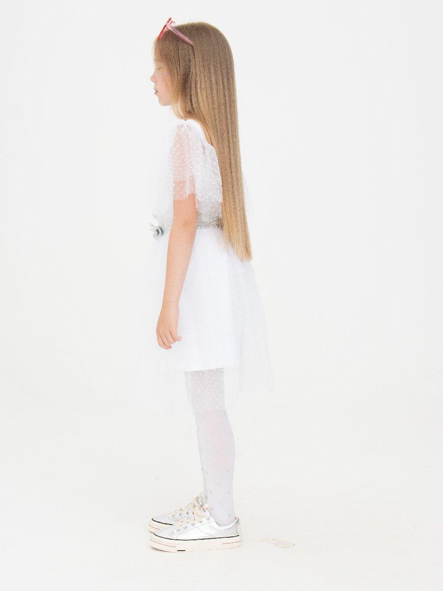 Комплект: платье А-силуэта и съемная юбка, цвет: белый