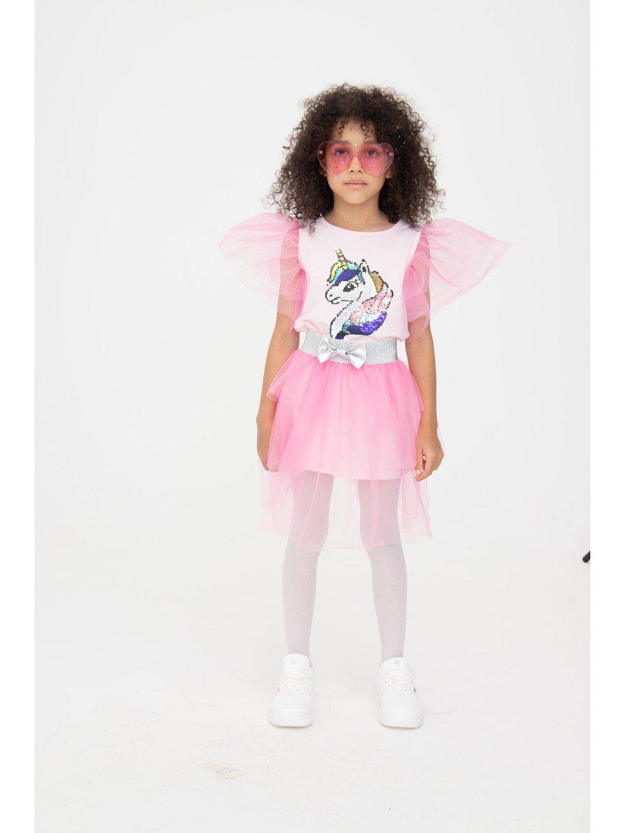 Комплект: платье А-силуэта и съемная юбка, цвет: светло-розовый