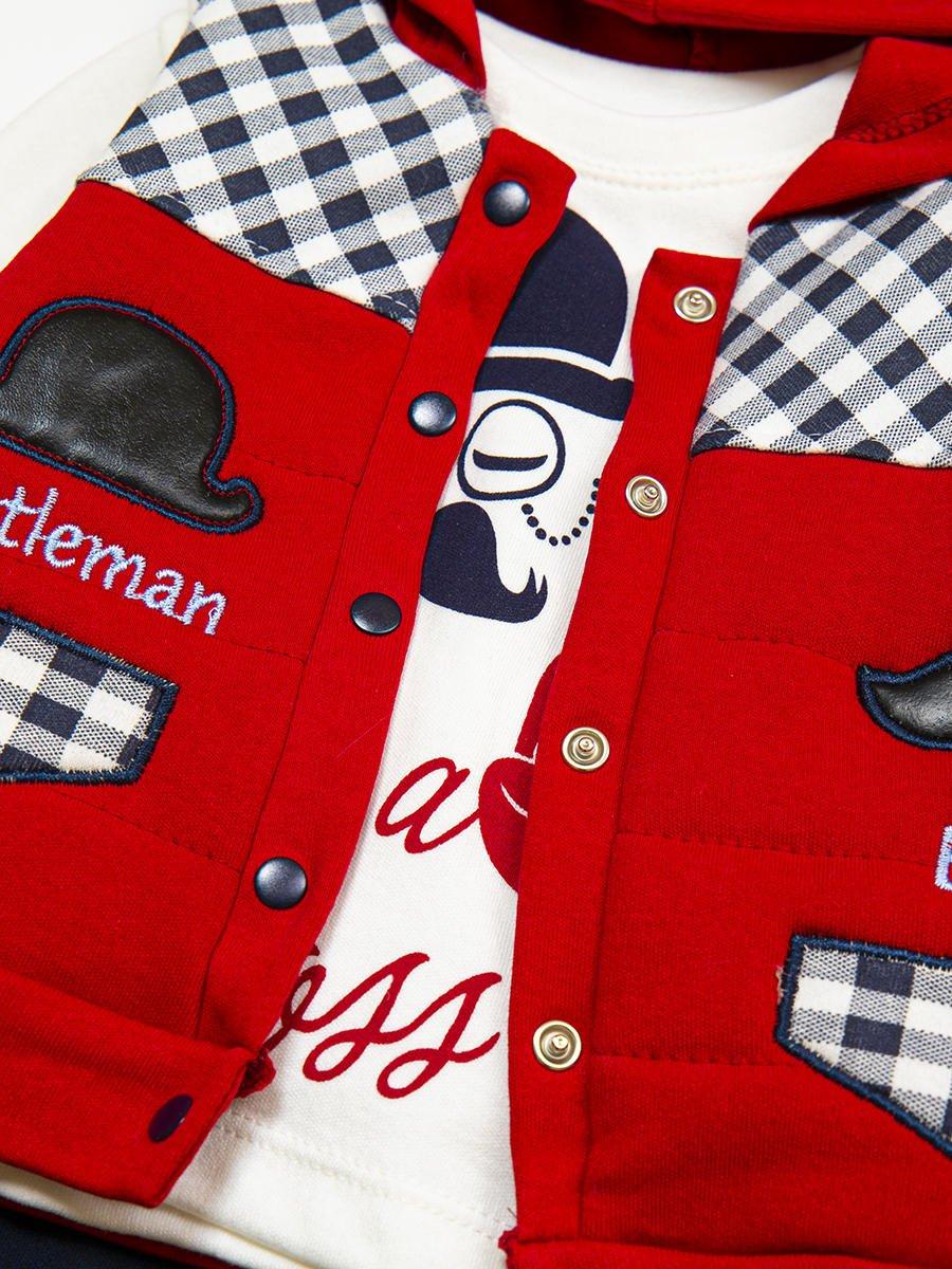 Комплект для мальчика: кофточка, штанишки и жилет утепленный, цвет: бордовый