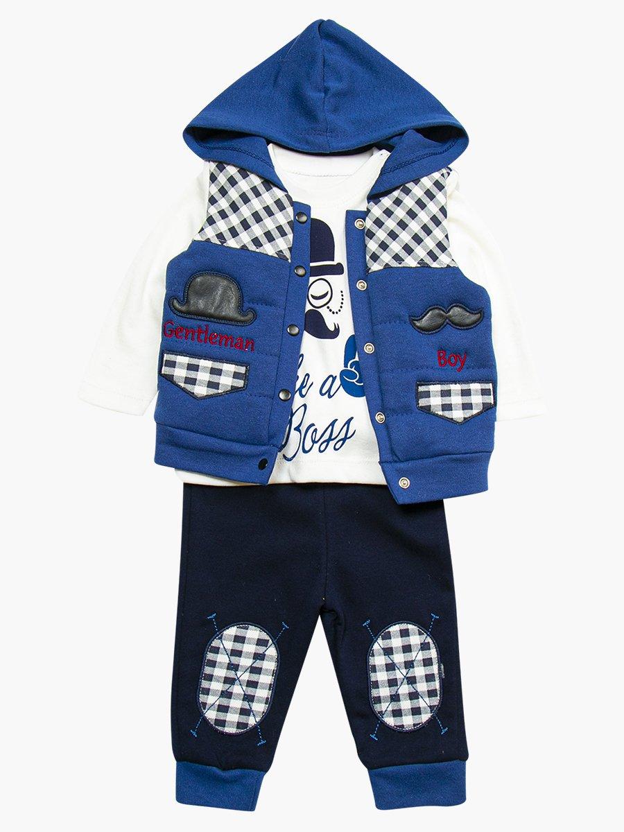 Комплект для мальчика: кофточка, штанишки и жилет утепленный, цвет: деним