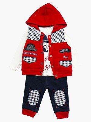 Комплект для мальчика: кофточка, штанишки и жилет утепленный