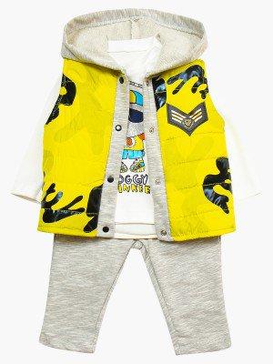 Комплект для мальчика: кофточка, штанишки и болоньевый жилет на синтепоне