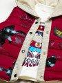 Комплект для мальчика: кофточка, штанишки и болоньевый жилет на синтепоне, цвет: бордовый