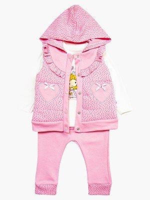 Комплект для девочки: кофточка, штанишки и жилет утепленный