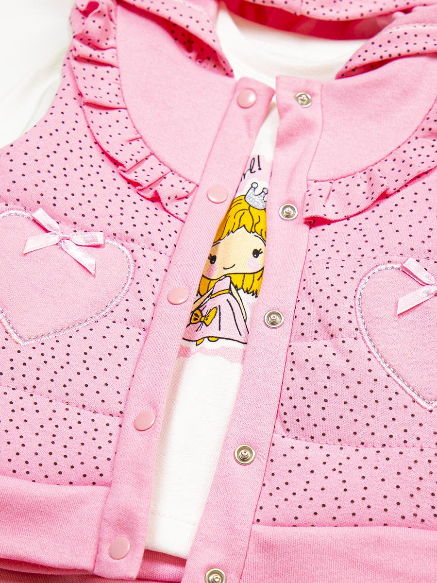 Комплект для девочки: кофточка, штанишки и жилет утепленный, цвет: светло-розовый