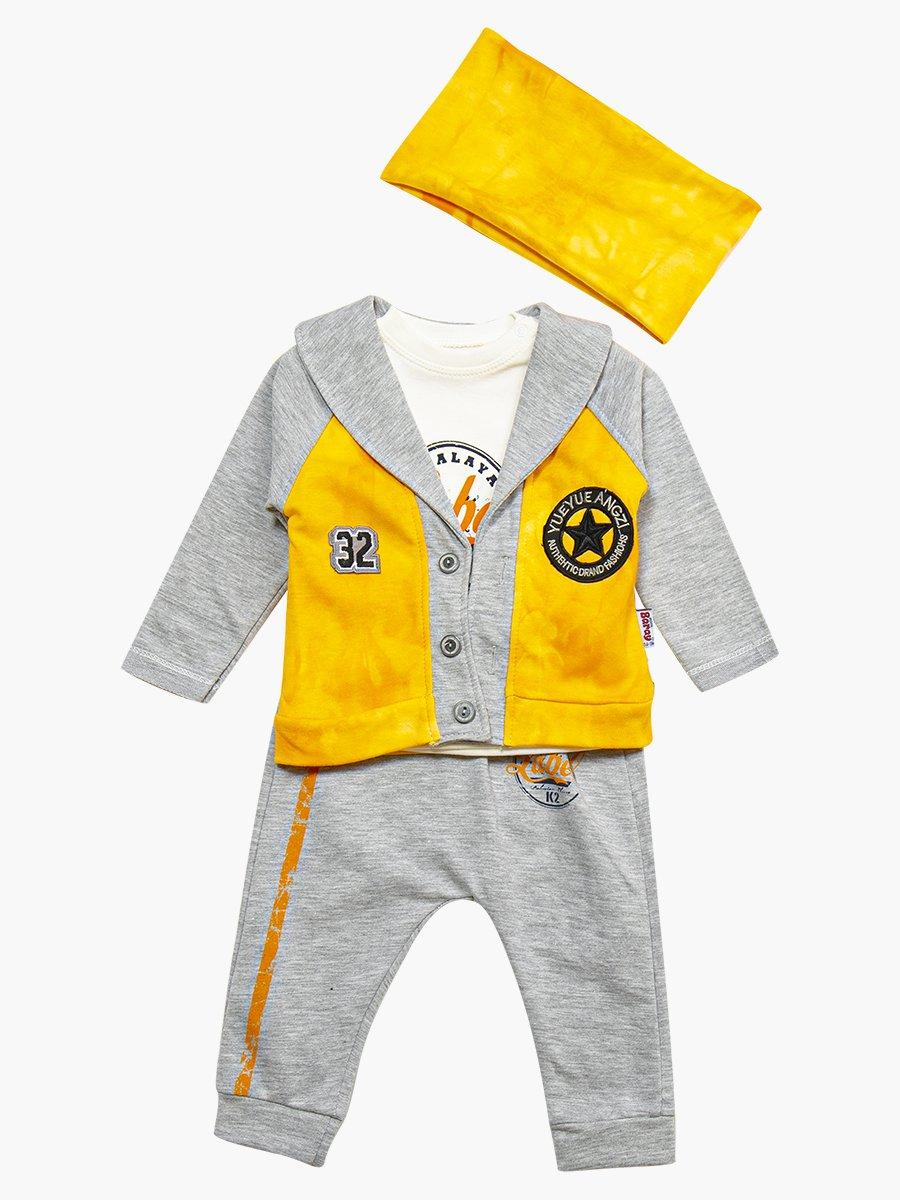 Комплект для мальчика: кофточка, штанишки, кардиган и бандана, цвет: желтый