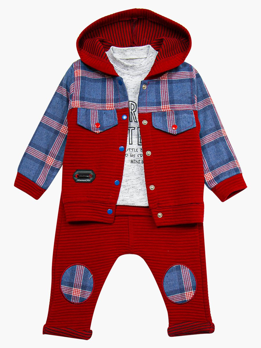 Комплект для мальчика: кофточка, штанишки и толстовка, цвет: бордовый