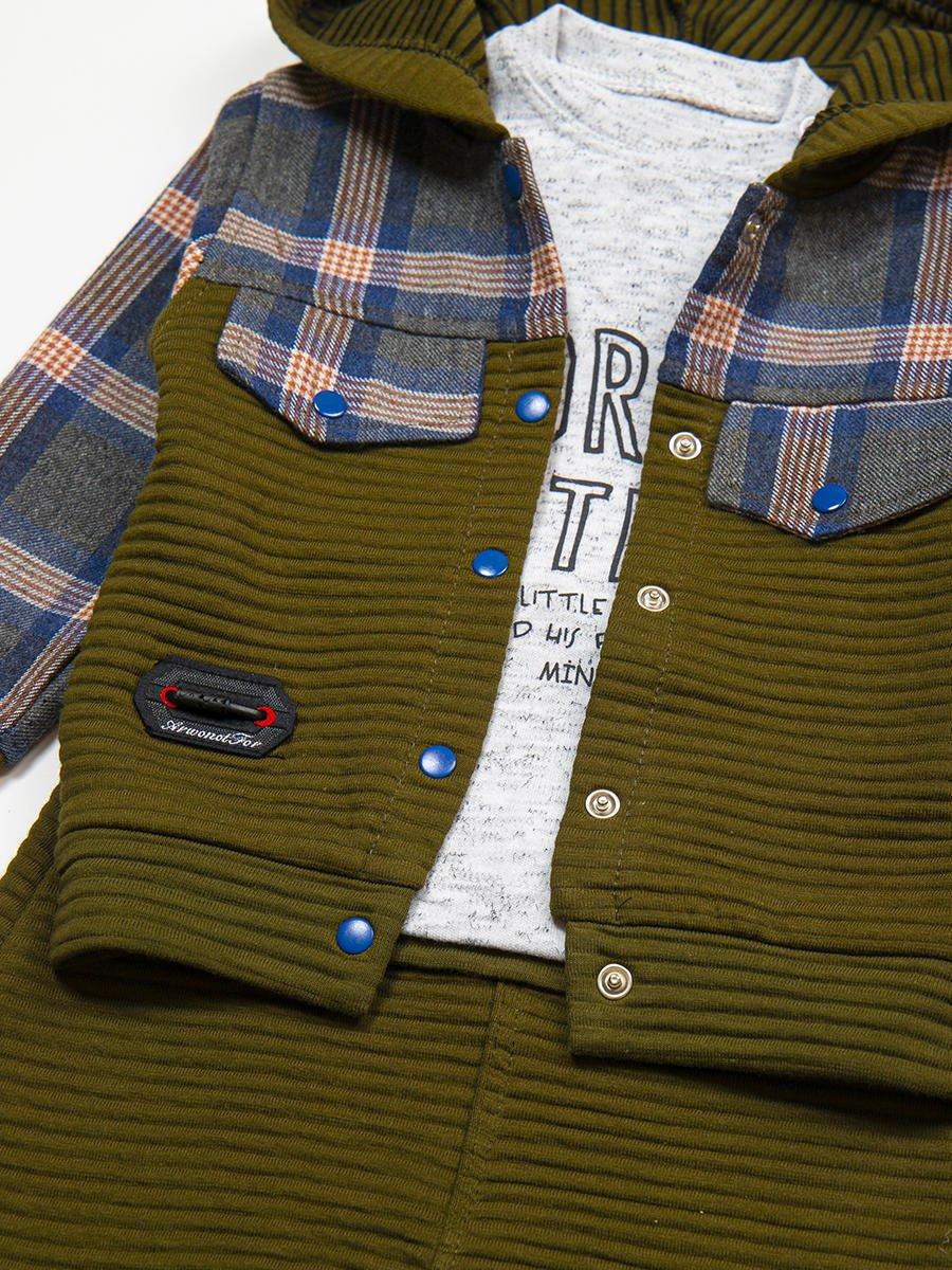Комплект для мальчика: кофточка, штанишки и толстовка, цвет: хаки
