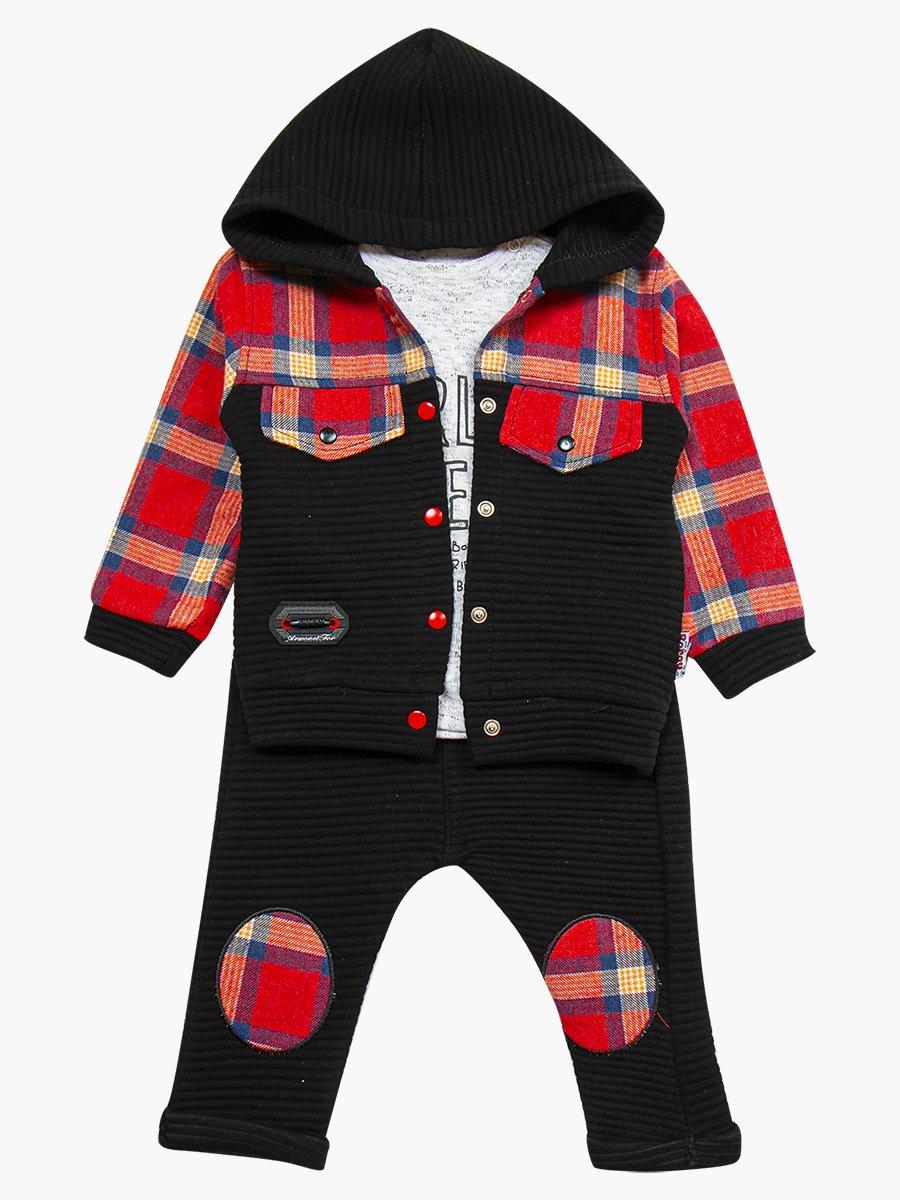 Комплект для мальчика: кофточка, штанишки и толстовка, цвет: черный