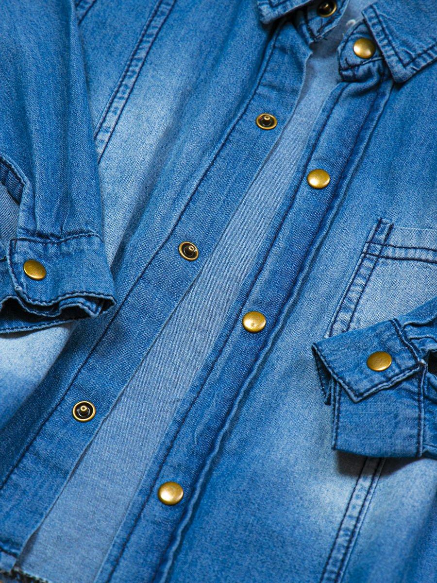 Комплект для мальчика: брюки, кофточка и джинсовая рубашка, цвет: серый