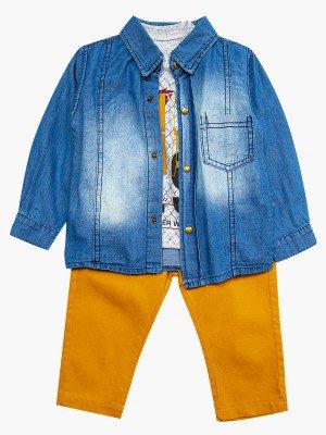 Комплект для мальчика: брюки, кофточка и джинсовая рубашка