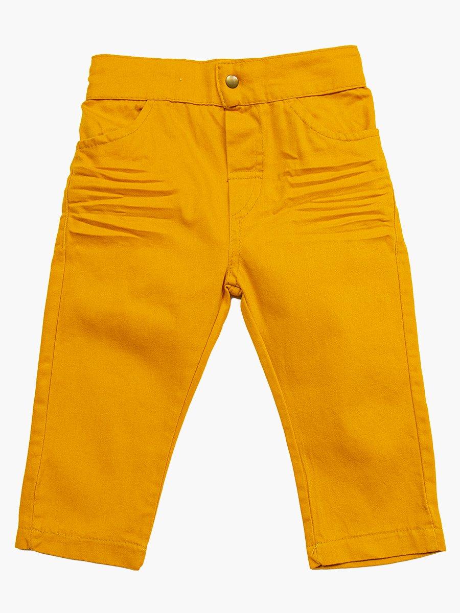 Комплект для мальчика: брюки, кофточка и джинсовая рубашка, цвет: горчичный