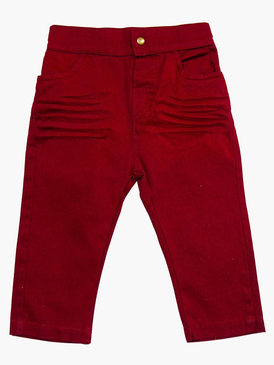 Комплект для мальчика: брюки, кофточка и джинсовая рубашка, цвет: бордовый