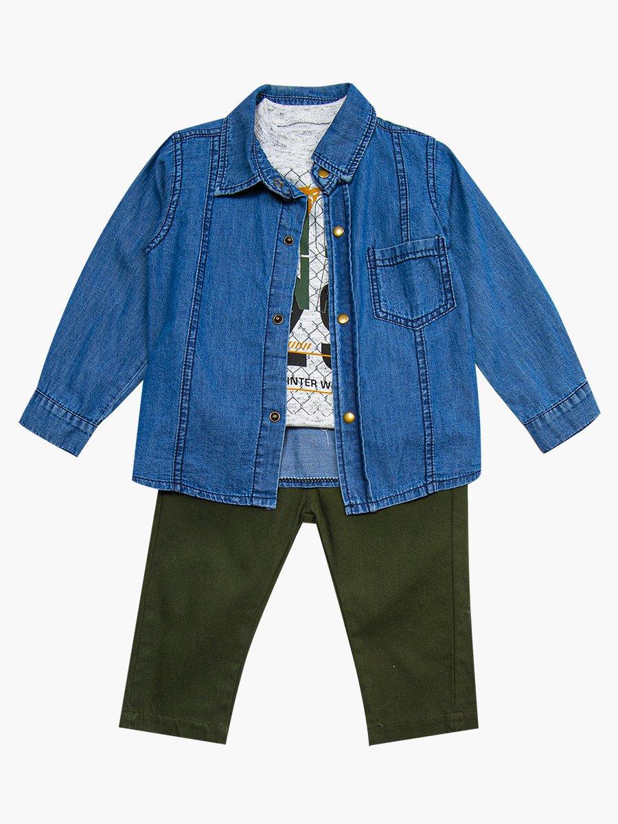 Комплект для мальчика: брюки, кофточка и джинсовая рубашка, цвет: хаки