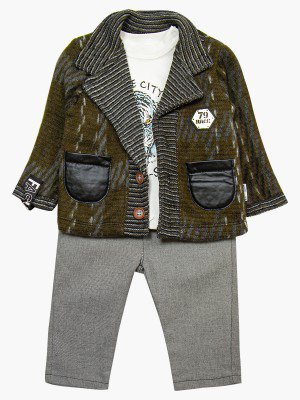Комплект для мальчика: брюки, кофточка и и кардиган с ворсом