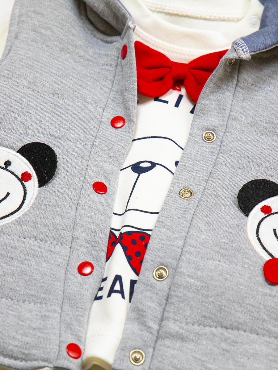 Комплект для мальчика: кофточка, штанишки и жилет утепленный, цвет: серый