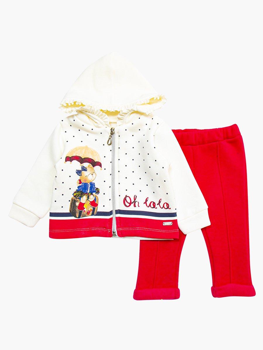 Комплект с начесом для девочки: толстовка и штанишки, цвет: малиновый