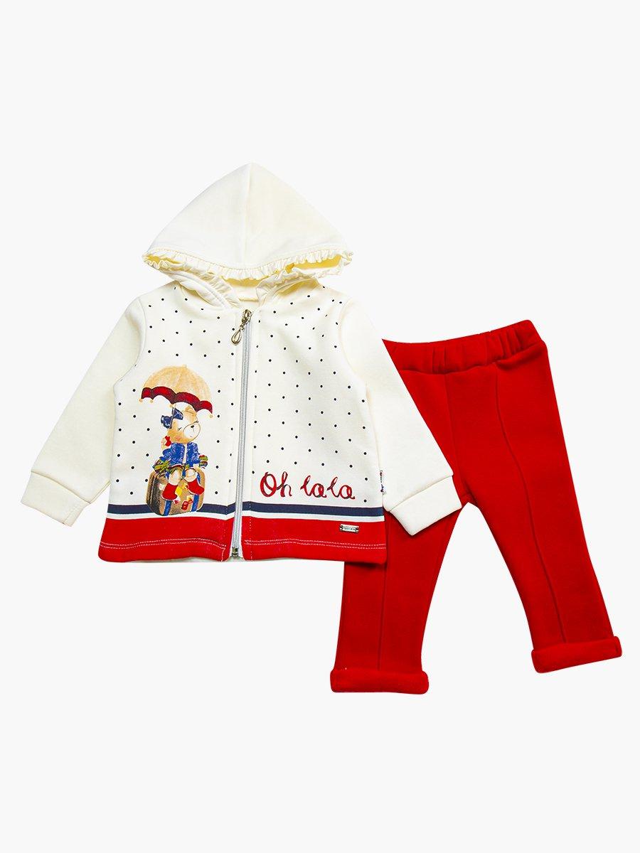 Комплект с начесом для девочки: толстовка и штанишки, цвет: красный