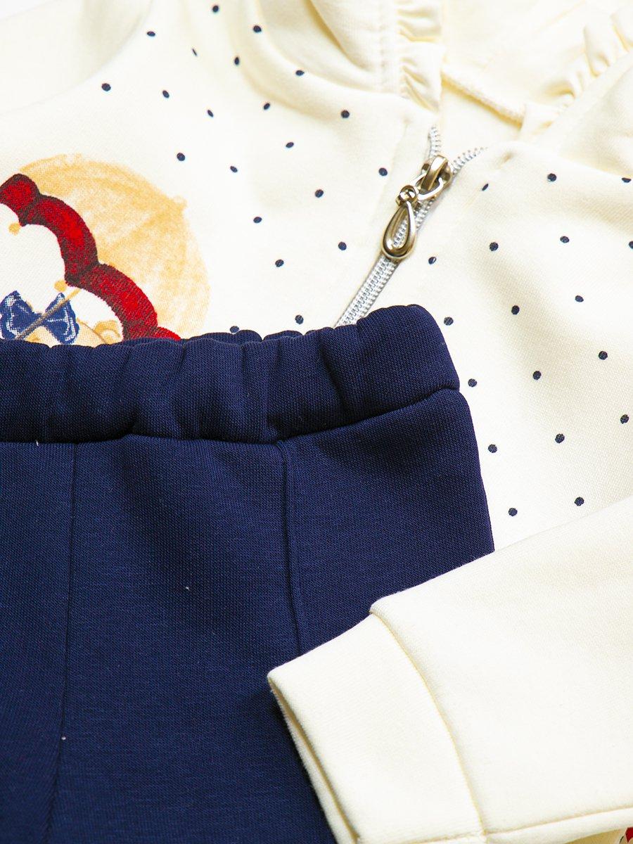 Комплект с начесом для девочки: толстовка и штанишки, цвет: темно-синий