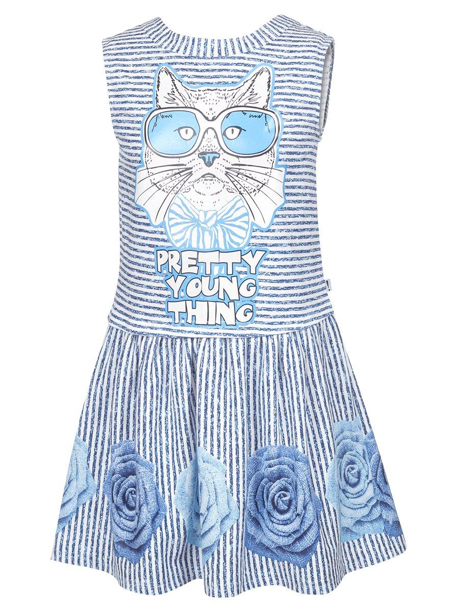Платье прямого силуэта с заниженной талией,юбка отрезная на сборке, цвет: деним